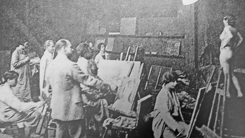 Vue d'un atelier de l'Académie vers 1908
