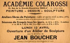 Annonce de l'Académie Colarossi