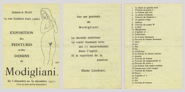 Catalogue de l'exposition Modigliani chez Berthe Weill
